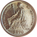 1870 H10C Half Dime, Judd-817, Pollock-906, High R.6, PR66 Brown PCGS. William Barber's rendition of Seated Liberty is p...