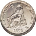 Patterns: , 1870 3C Three Cent Silver, Judd-797, Pollock-884, Low R.7, PR67NGC. William Barber's Liberty Seated design graces the obve...
