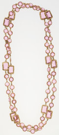 "Luxury Accessories:Accessories, Chanel Pink Crystal & Gold Sautoir Necklace. Very GoodCondition. 60"" Length. ..."