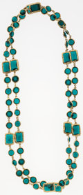 "Luxury Accessories:Accessories, Chanel Teal Crystal & Gold Sautoir Necklace. Very GoodCondition. 60"" Length. ..."