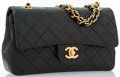 """Luxury Accessories:Accessories, Chanel Black Quilted Lambskin Leather Small Double Flag Bag with Gold Hardware. Good Condition. 9"""" Width x 5.5"""" Height..."""