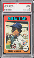 Baseball Cards:Singles (1970-Now), 1975 Topps Felix Millan #445 PSA Mint 9....
