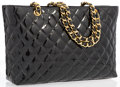 "Luxury Accessories:Bags, Chanel Black Quilted Patent Leather Shopping Tote Bag with GoldHardware. Excellent Condition. 13.5"" Width x 9"" Height x5..."