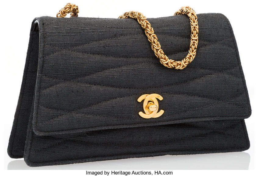 Very GoodCondition  Luxury Accessories Bags, Chanel Gray Canvas Shoulder Bag  with Gold Hardware. 0c221aed39