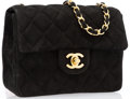 "Chanel Black Quilted Suede Mini Single Flap Bag with Gold Hardware Very Good Condition 6.5"" Width"