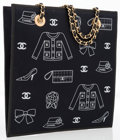 "Luxury Accessories:Bags, Chanel Black Canvas Lucky Charms Shopper Tote Bag with GoldHardware. Excellent Condition. 9.5"" Width x 9.5"" Height x 4""D..."