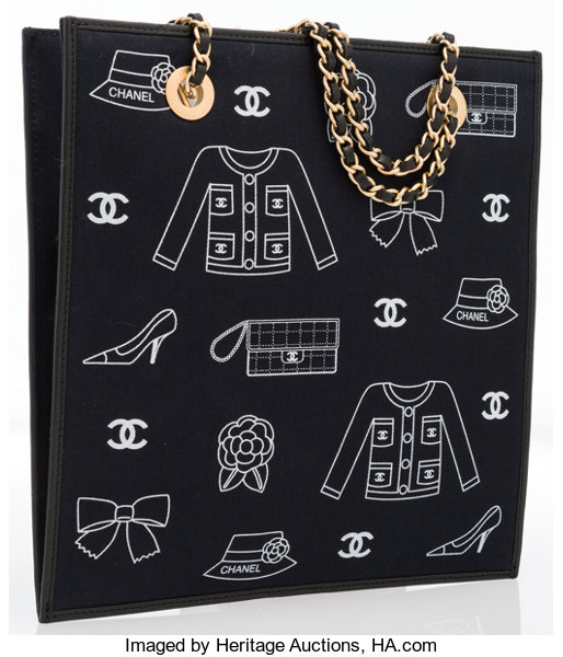 c6dcf3e5e76b Chanel Black Canvas Lucky Charms Shopper Tote Bag with