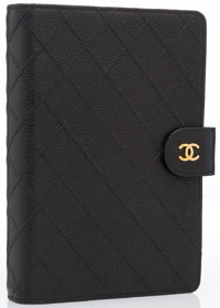 """Chanel Black Quilted Caviar Leather Address Book Cover Excellent to Pristine Condition 7.5"""" Width"""