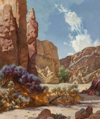 RALPH BROWNELL MCGREW (American, 1916-1994) Song of the Canyon Oil on board 35-1/2 x 30 inches (9