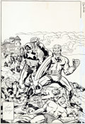 Original Comic Art:Covers, Jack Kirby and Joe Sinnott Invaders #16 Cover Original Art (Marvel, 1977)....