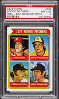 Baseball Cards:Singles (1970-Now), 1974 Topps Rookie Pitchers SM. Print #599 PSA NM-MT 8....