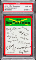Baseball Cards:Singles (1970-Now), 1974 Topps Team Checklist New York Yankees PSA NM-MT 8....