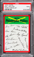 Baseball Cards:Singles (1970-Now), 1974 Topps Team Checklist Philadelphia Phillies PSA Mint 9....