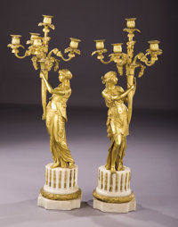 A Pair of Early 19th Century French Five Light Candelabra Unknown maker, French, early 19th century Gilt br