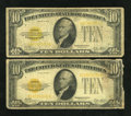 Small Size:Gold Certificates, Fr. 2400 $10 1928 Gold Certificates. Two Examples. Good.. ... (Total: 2 notes)