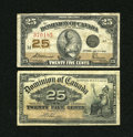 Canadian Currency: , DC-15b 25¢ 1900. DC-24c 25¢ 1923.. ... (Total: 2 notes)
