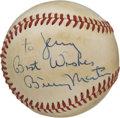 Autographs:Baseballs, Billy Martin Single Signed Baseball. The fiery skipper has left theoffered OAL (MacPhail) baseball with splendid personall...