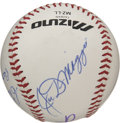Autographs:Baseballs, Willie Mays/Joe DiMaggio/Pete Rose Singed Baseball. This LittleLeague baseball supports a most unusual cast of signatures....