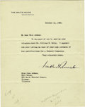 "Autographs:U.S. Presidents, Franklin D. Roosevelt Typed Letter Signed as President ""Franklin D. Roosevelt"". One page, 7"" x 9"", on White House letter..."