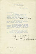 """Autographs:U.S. Presidents, Eleanor Roosevelt Typed Letter Signed """"Very Sincerely yours,Eleanor Roosevelt"""". One page, 6.25"""" x 9.25"""", on White House...(Total: 1 Item)"""
