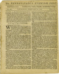 """Miscellaneous:Ephemera, 1777 Edition of The Pennsylvania Evening Post With BenedictArnold Content. Four pages, 7.5"""" x 9.5"""", Volume III,..."""