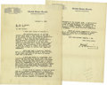 "Autographs:U.S. Presidents, Warren G. Harding Typed Letter Signed as Senator ""W. G.Harding"". Two pages, 8"" x 10.5"", on United States SenateCommitt... (Total: 1 Item)"