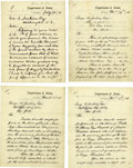 "Autographs:Statesmen, Lot of Four Hamilton Fish Letters Signed as Secretary of State""Hamilton Fish"". Each letter two pages, 7.75"" x 10"", on D...(Total: 4 Item)"
