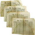 Books:Periodicals, Four Lincoln Assassination Issues of the New York Times, 32pp. total, folio, April 17 - April 20, 1865, aging as expect...(Total: 4 items Item)