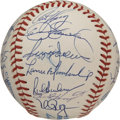 Autographs:Baseballs, 1991 Oakland A's Team Signed Baseball. The snow white OAL (Brown)baseball is graced with the signatures of the 1991 Oaklan...