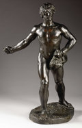 Bronze:European, A Young Man Seeding the Fields. . George Bareau, French(1866-1931). Circa 19th Century. Incised with name of artist...