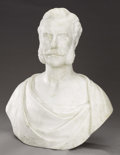 Fine Art - Sculpture, European:Antique (Pre 1900), Bust of a Man. Giovani Maria Benzoni (Italian, 1809-1873).Circa 1860. Carrera marble. 26 x 14 1/2 x 15 inches . ...