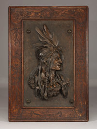 Bronze Indian Chief with Silver Earring The Gorham Company Founders Bronze, wood Incised: Gorham Mfg Co 87