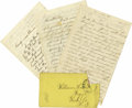 """Autographs:Military Figures, Three Letters by Union Soldier William W. Hawkins, total 12pp., 5"""" x 8"""", written circa 1863 sending home news of camp life. ... (Total: 1 Item)"""