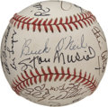 Autographs:Baseballs, Old Timers Day Signed Baseball Musial/O'Neil. The OAL (Brown)baseball carries the weight of some of the greatest signatur...