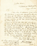 "Autographs:Military Figures, 1830 Letter to President Andrew Jackson Seeking Consideration For Slavery Law Violation. One page, 7.75"" x 9.5"", Newburyport..."