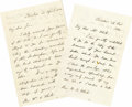"Autographs:Statesmen, Lot of Two Edward Everett Autograph Letters Signed ""EdwardEverett"". Each letter two pages, 5"" x 7.5"", Boston, April 14...(Total: 1 Item)"