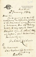 "Autographs:Authors, English Novelist Wilkie Collins Autograph Letter Signed ""WilkieCollins"". One page, 4.5"" x 7"", on Collins' personal lett...(Total: 1 Item)"