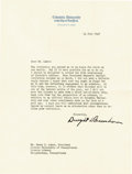 """Autographs:U.S. Presidents, Dwight D. Eisenhower Typed Letter Signed As President of ColumbiaUniversity """"Dwight D. Eisenhower"""". One page, 8"""" x 10.5...(Total: 1 Item)"""