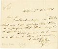 "Autographs:Statesmen, Gideon Welles Autograph Letter Signed ""G Welles"". One page,6.5"" x 5.5"", Hartford, April 7, 1831, in ink. The letter rea...(Total: 1 Item)"
