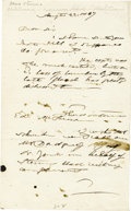 "Autographs:Statesmen, Abolitionist Thaddeus Stevens Autograph Letter Signed, one page, 5""x 8"". n.p., August 22, 1867. A hastily written letter in... (Total:1 Item)"