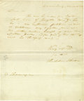 "Autographs:Statesmen, Early Thaddeus Stevens Autograph Letter Signed ""ThaddeusStevens"". One page, 7.75"" x 10.5"", Harrisburg [Pennsylvania],M... (Total: 1 Item)"