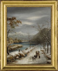 19th Century European:Landscape, Nevicafa Nel Conforno Vallese. . Annibale Angelini, Italian (1812-1890) . 19th Century. Oil on canvas. Bears label v...