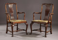 Furniture , A Set of Twelve Walnut Queen Anne Style Dining Chairs. Unknown maker, possibly Irish. Mid 19th century. Walnut and upholst... (Total: 12 Items)