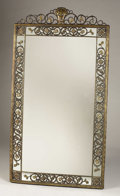 Bronze, A Fine Oscar Bach Bronze Reticulated Parlor Mirror. . Oscar Bach, German-American (1884-1957). Signed . New York. 4...