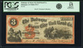Obsoletes By State:Iowa, Dubuque, IA - Dubuque & Sioux City Rail Road Co. $3 (186?)Oakes 52-3. PCGS Fine 15 Apparent.. ...