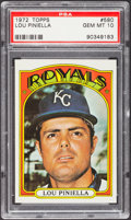Baseball Cards:Singles (1970-Now), 1972 Topps Lou Piniella #580 PSA Gem Mint 10....