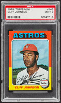 Baseball Cards:Singles (1970-Now), 1975 Topps Mini Cliff Johnson #143 PSA Mint 9....