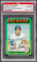 Baseball Cards:Singles (1970-Now), 1975 Topps Mini Pedro Garcia #147 PSA Gem Mint 10 - Pop One....