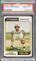 Baseball Cards:Singles (1970-Now), 1974 Topps Jackie Hernandez #566 PSA Gem Mint 10....