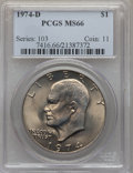 Eisenhower Dollars: , 1974-D $1 MS66 PCGS. PCGS Population (445/15). NGC Census: (606/8). Mintage: 45,517,000. Numismedia Wsl. Price for problem ...